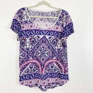 Lucky Brand Multi-Colored Tribal Short Sleeve Top